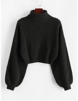 Hot Zaful Turtleneck Lantern Sleeve Cropped Sweater   Black S by Zaful