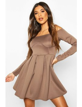 Off The Shoulder Pleated Skater Dress by Boohoo