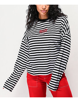 Ragged Jeans Priest Dogma Black &Amp; White Striped Crop Long Sleeve T Shirt by The Ragged Priest