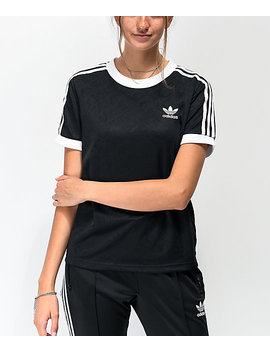 Adidas 3 Stripe Allover Black &Amp; White T Shirt by Adidas