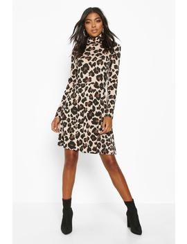 Tall Roll Neck Leopard Print Smock Dress by Boohoo