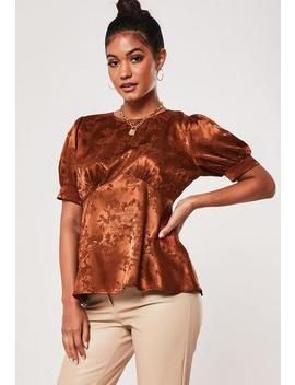 Rust Satin Jacquard Babydoll Top by Missguided
