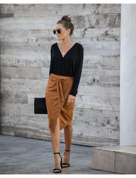 Hercules Faux Suede Wrap Skirt   Camel by Vici