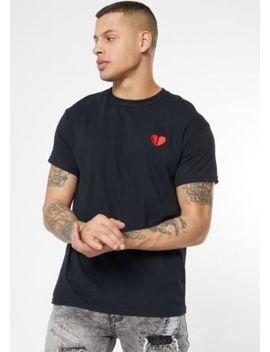 Black Broken Heart Embroidered Tee by Rue21