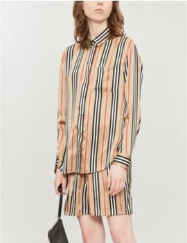 Striped Wide High Rise Silk Shorts by Burberry