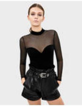 Velvet Bodysuit With Plumetis by Bershka