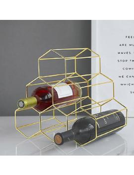 Geometric Gold Rose Gold Metal Wine Rack Hexagon Shaped Kitchen Living Room Bedroom Office Geometrical Honeycomb Shape by Etsy
