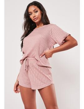 Blush Rib Mix And Match Loungewear T Shirt by Missguided