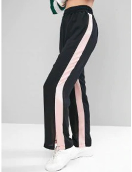 New Contrast Two Tone High Waisted Straight Pants   Black L by Zaful