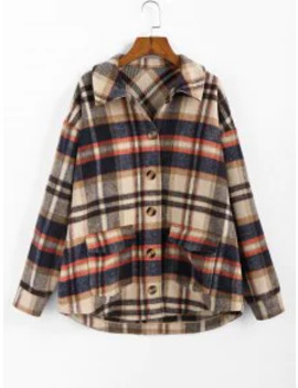 New Zaful Plaid High Low Single Breasted Wool Coat   Multi Xl by Zaful