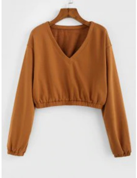 New Zaful V Neck Cropped Sweatshirt   Caramel L by Zaful