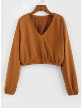 Popular Zaful V Neck Cropped Sweatshirt   Caramel L by Zaful