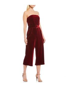 Love Game Strapless Stretch Velvet Belted Crop Jumpsuit by Sugarlips