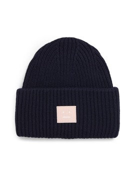 Pansy Face Patch Rib Wool Beanie by Acne Studios