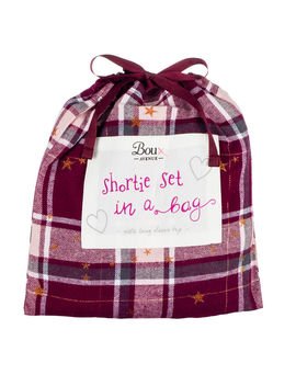 Star Check Long Sleeve Shorties In A Bag   Burgundy by Bouxavenue
