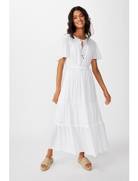 Woven Tabitha Short Sleeve Tiered Maxi Dress by Cotton On