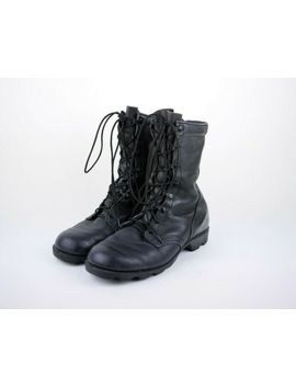 Vtg Ro Search Men's 8.5 W   Black Leather Military Combat Boots Motorcycle Work by Military Issue