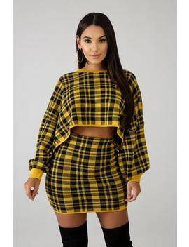 Plaid Knit Skirt Set by Gitionline