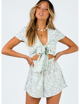Sweet Sahara Tie Front Playsuit White Floral by Princess Polly