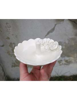 White Porcelain Ring Dish, Hand Made Ceramic Pottery, Valentines Day Gift, Jewellery Bowl, Unique Floral Dish, Ready To Ship by Etsy