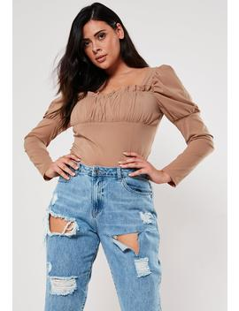 Plus Size Camel Milkmaid Gathered Bodysuit by Missguided