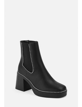Black Ball Trim Heeled Chelsea Boots by Missguided