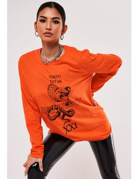 Orange Oversized Snake Graphic T Shirt by Missguided