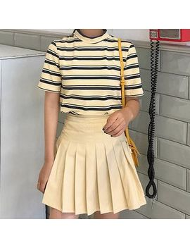 Poseidon   Set: Striped Short Sleeve T Shirt + Pleated A Line Skirt by Poseidon