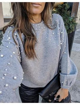 Preorder   Claudette Pearl Embellished Knit Sweater by Vici