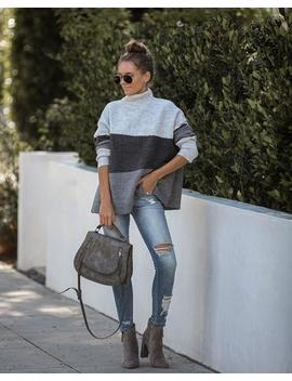 Cyclone Colorblock Mock Neck Sweater by Vici