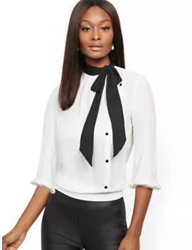 Buttoned Bow Accent Blouse by New York & Company