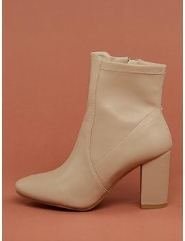 Almond Toe Block Heel Sock Ankle Boots by Sheinside