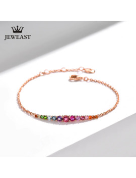 Natural Tourmaline 18k Pure Gold Female Bracelets Fine Jewelry Gift Girl Thin Trendy Solid 750 Real Bangle Party Good Nice by Ali Express.Com