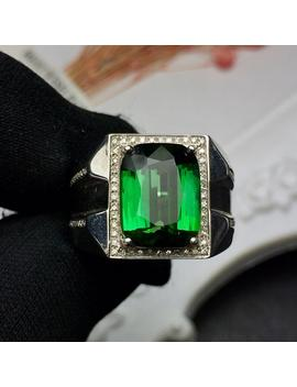 Fine Jewelry Real Pure 18 K Gold Jewelry 100% Natural Green Tourmaline Gemstones 6.05ct Diamonds Male's Wedding Fine Man's Rings by Ali Express.Com