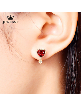 Natural Garnet 18 K Pure Gold Earring Real Au 750 Solid Gold Earrings Diamond Trendy Fine Jewelry Hot Sell New 2019 by Ali Express.Com