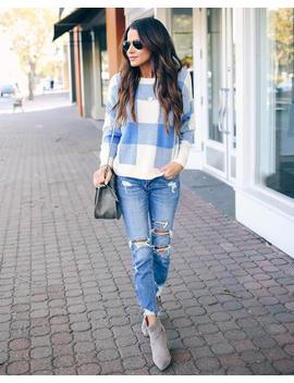 Moore Checkered Knit Sweater by Vici