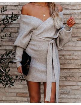 Kara Drape Knit Sweater Dress   Grey by Vici
