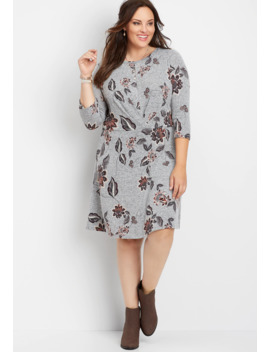 Plus Size Floral Front Pleat Dress by Maurices