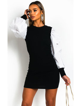 Fabia Ribbed Puff Sleeve Jumper Dress In White by Ikrush