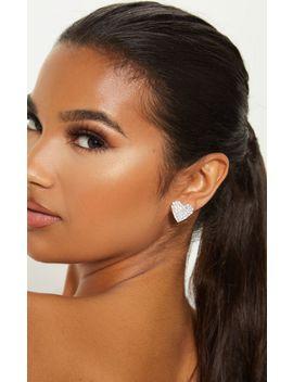 Silver Diamante Heart Stud Earrings by Prettylittlething