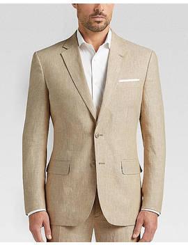 Joe Joseph Abboud Tan Chambray Linen Slim Fit Suit Separates Coat by Joe Joseph Abboud