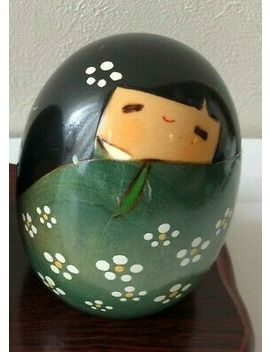 Kokeshi Japanese Doll Vintage Antique Wooden Usaburo Egg Shape Japan Used Green by Ebay Seller