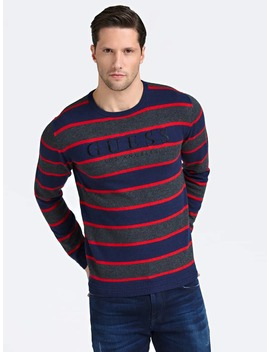Striped Sweater With Front Logo by Guess