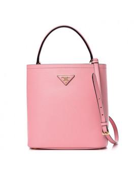 Prada Saffiano Cuir Medium Panier Bucket Bag Petalo Fuoco by Prada