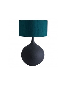 Oversized Black Ceramic Table Lamp With Ink Silk Shade Oversized Black Ceramic Table Lamp With Ink Silk Shade by Calla\N                        Calla