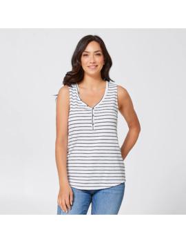 Alexa Henley Singlet Top   White/Navy Stripe by Target