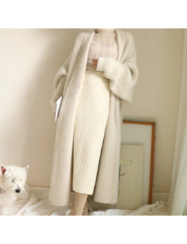 Real Mink Cashmere Long Coat Genuine Mink Cashmere Sweater Warm Custom Big Size Pure True Mink Fur X Long Cardigans 2019 by Ali Express.Com