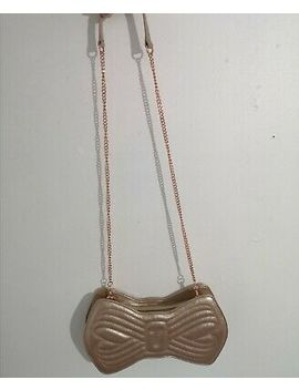 Ted Baker Bow Shape Bronze 100% Bovine Leather Pearl Gold Cross Body Bag Clutch by Ebay Seller