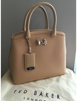 Ted Baker Taupe Nude Curved Bow Leather Tote Bag With Strap Tealia Bnwts £195 by Ebay Seller