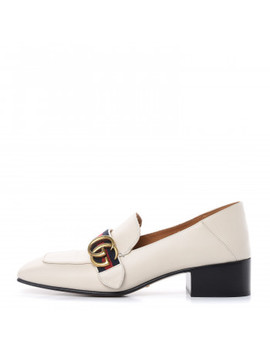 Gucci Calfskin Web Womens Peyton Loafers 38.5 White by Gucci
